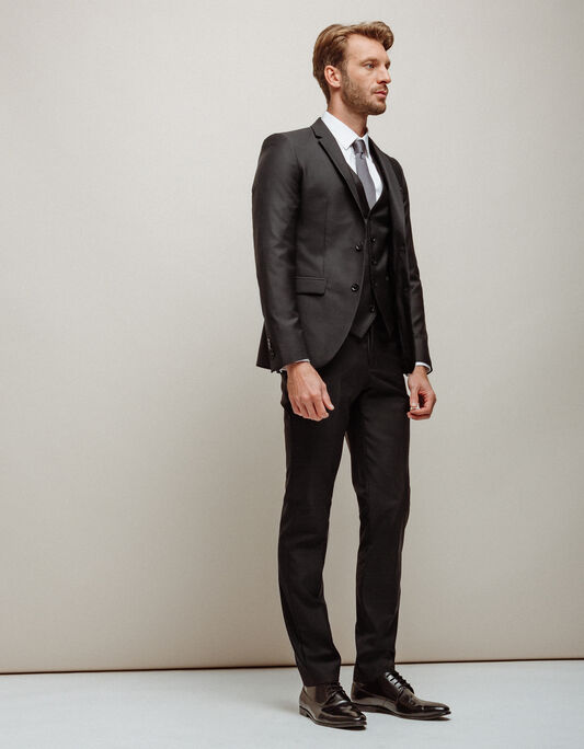 Costume homme slim en laine noir