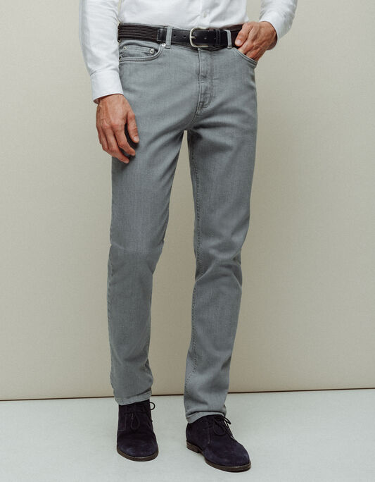 Jeans slim gris coton élasthanne