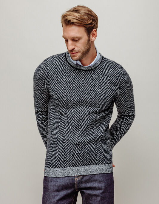 Pull homme col rond zigzag fantaisie