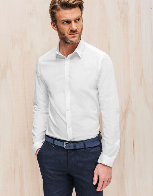 Chemise homme manche longue coupe slim coton stret