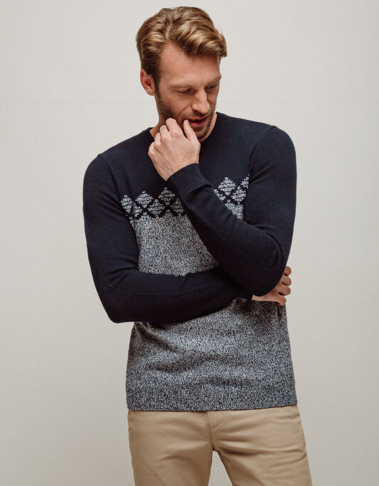 Pull homme col rond fantaisie chiné