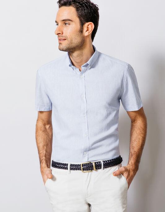 chemise à rayure coton lin coupe droite