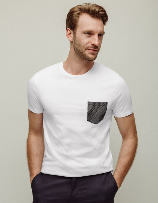 Tee-shirt homme blanc col rond uni