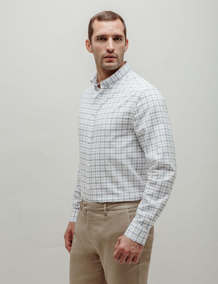 chemise homme blanche regular carreaux brice. Black Bedroom Furniture Sets. Home Design Ideas