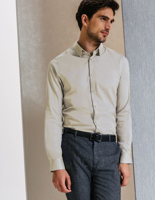 chemise coton uni slim fit