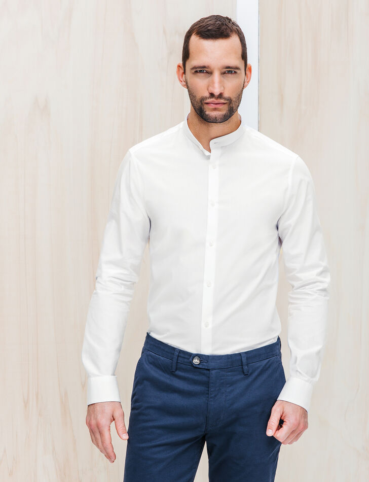 Chemise homme blanche slim col mao