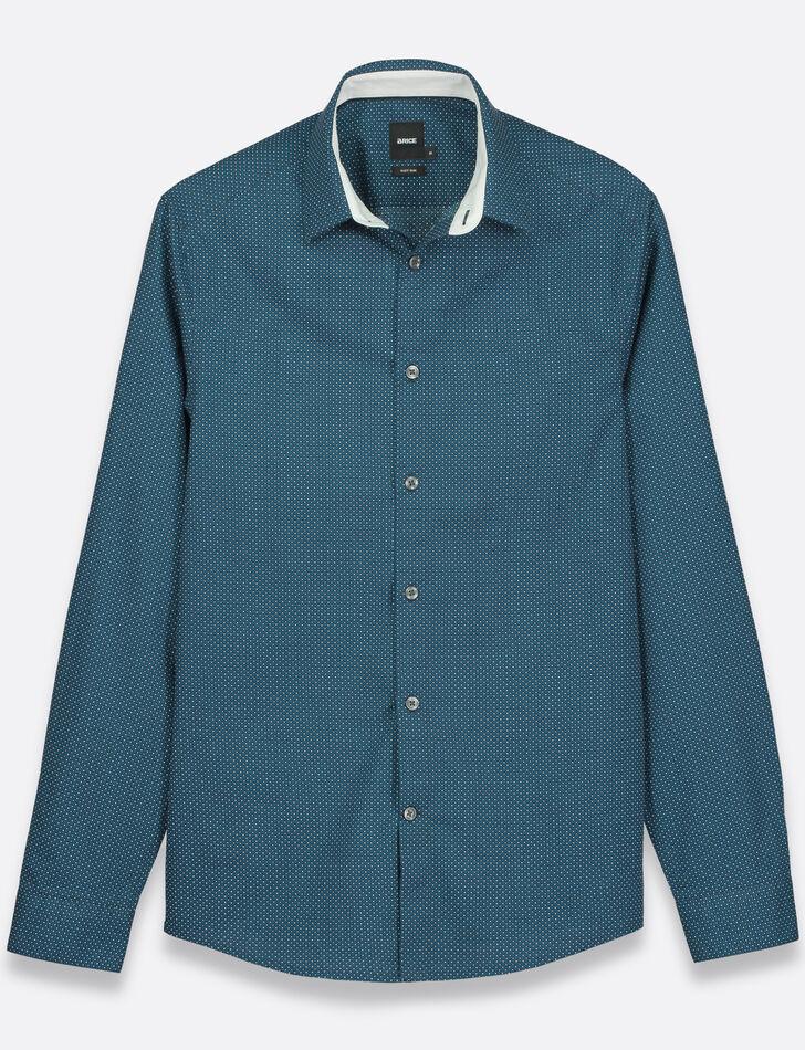 chemise homme bleue slim imprim e fantaisie brice. Black Bedroom Furniture Sets. Home Design Ideas