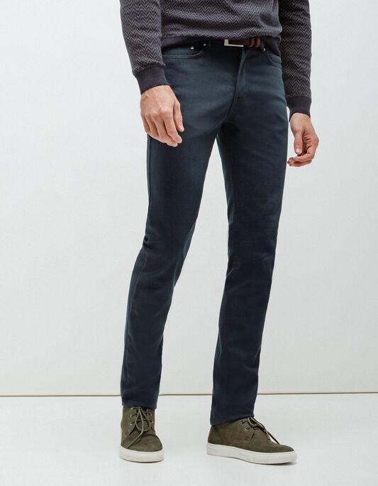 Pantalon homme 5 poches slim bleu pétrole