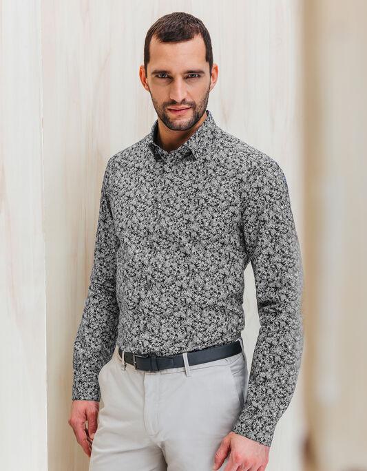 Chemise coton blanc noir coupe droite