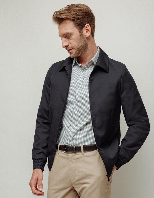 Veste homme coupe regular zip noire