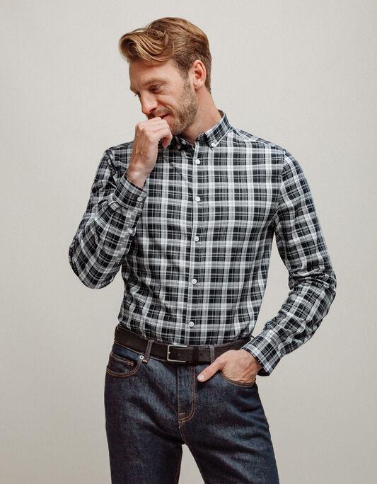 Chemise homme à carreaux bicolore