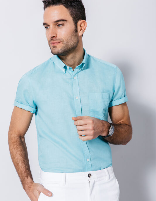chemise coton lin uni coupe droite