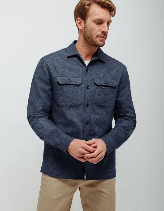 Surchemise homme bleu marine regular coton