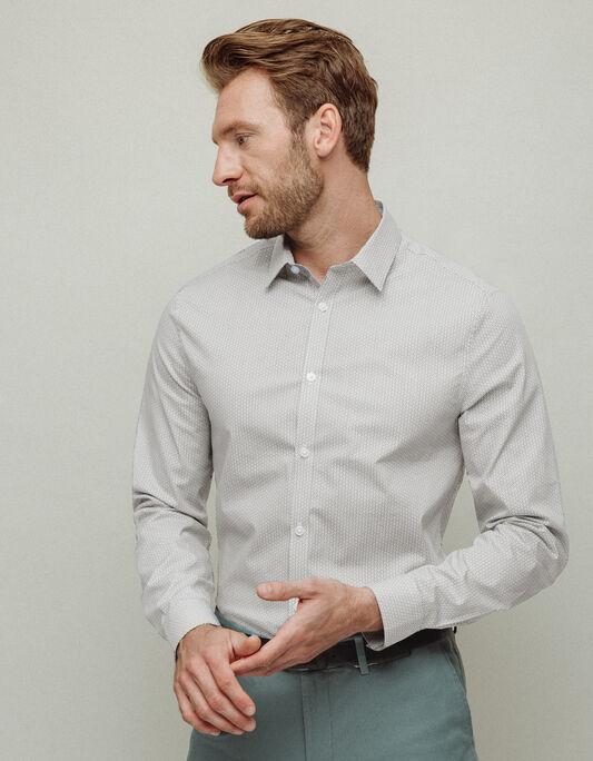 Chemise homme blanche slim imprimée