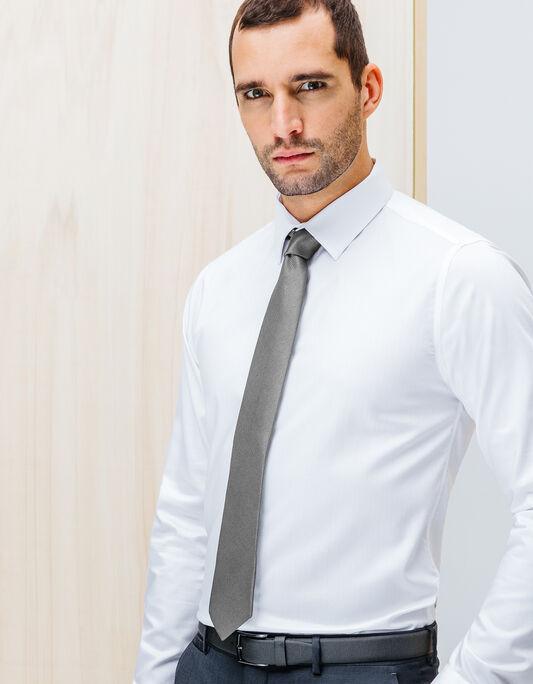 Cravate 6,5cm unie polyester tissage relief