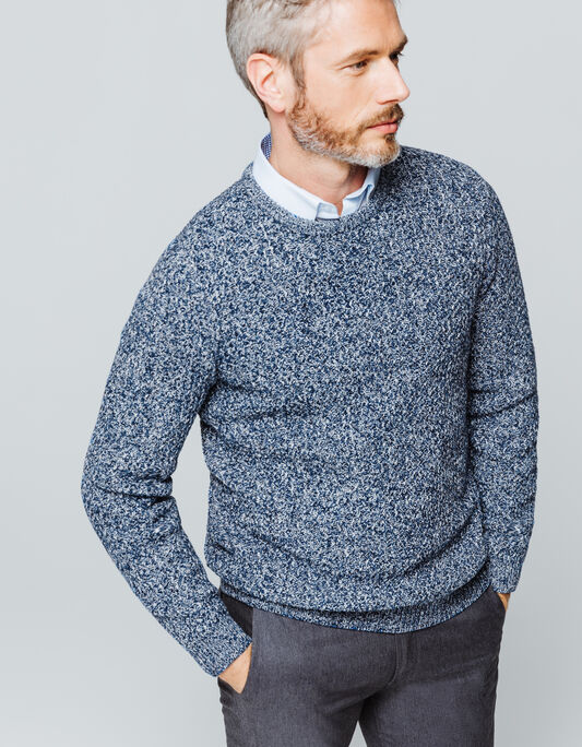 Pull homme col rond mouliné