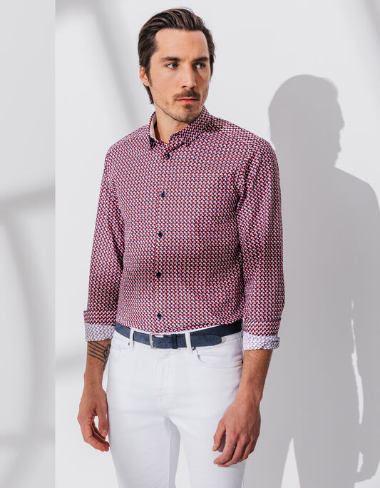 Chemise rouge homme slim fit
