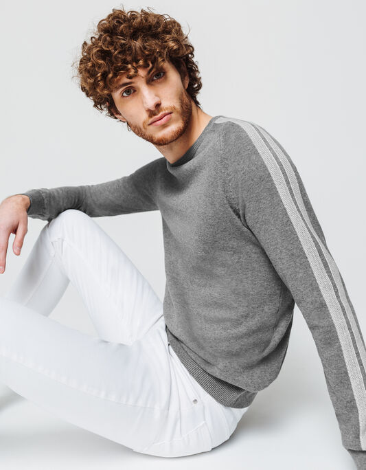 Pull homme col rond manches rayées en coton