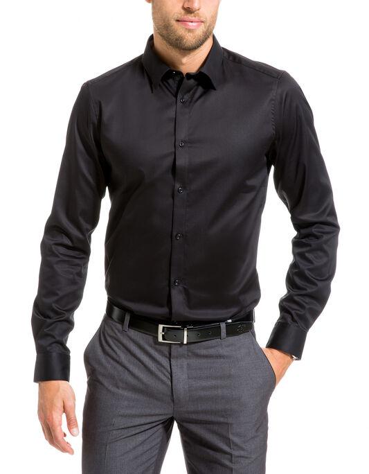 chemise satin de coton  uni slim fit