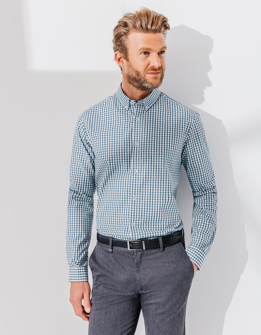 Chemise a carreaux homme coton coupe droite