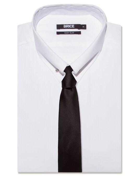 Cravate homme unie noire slim polyester