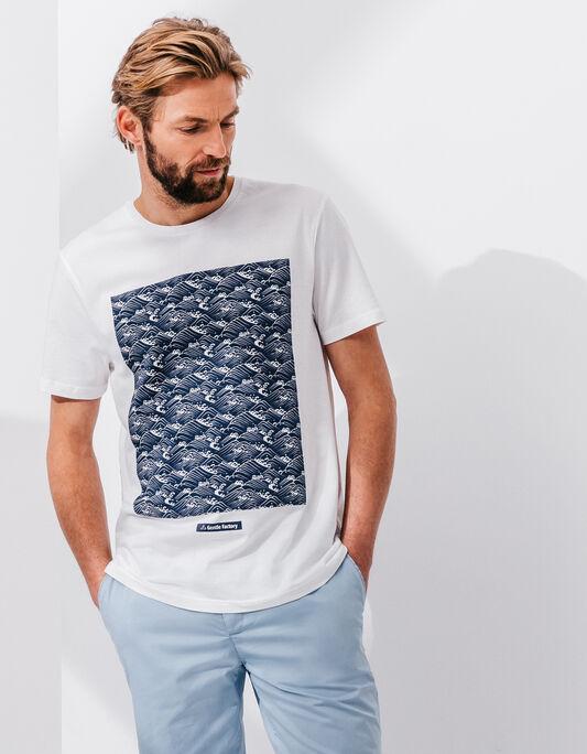 Tee-shirt homme blanc col rond imprimé vagues
