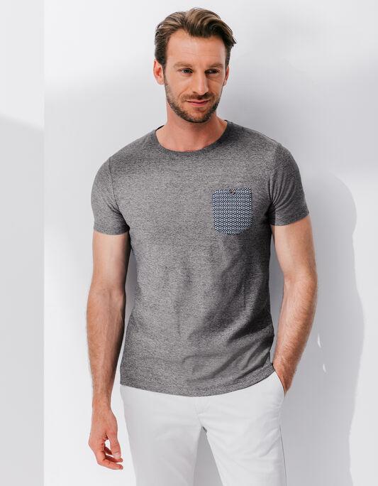 T-shirt mouliné avec poche imprimée