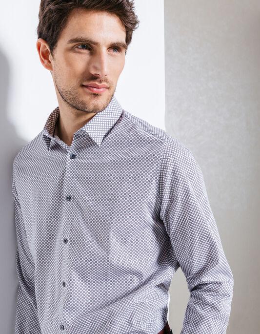 Chemise coton  à motif coupe droite