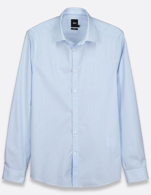 Chemise homme bleue slim rayures fines