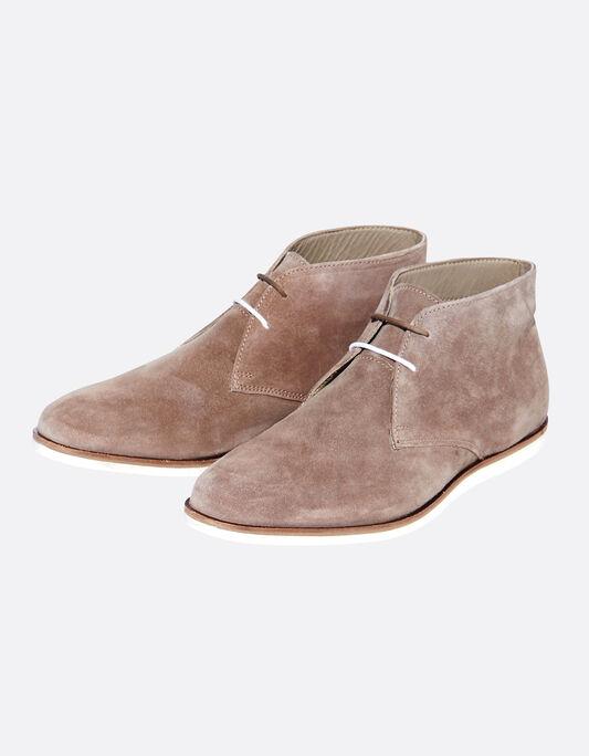Chaussures homme montantes en cuir suédé