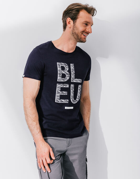 Tee-shirt homme bleu marine col rond imprimé bleu