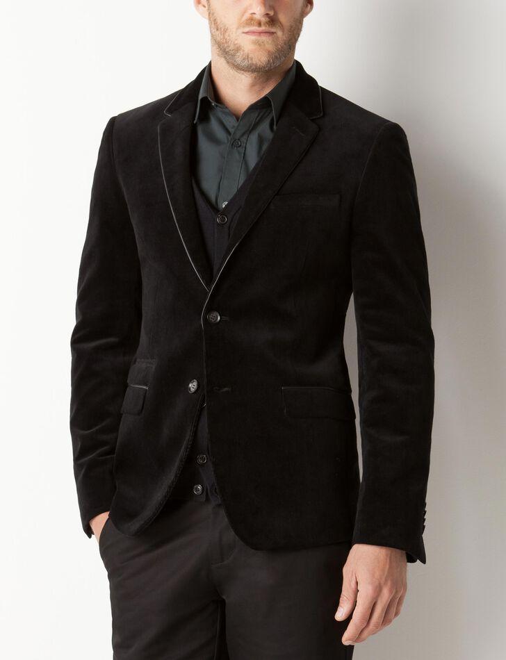 Veste velours noire brice for Veste noir interieur ecossais