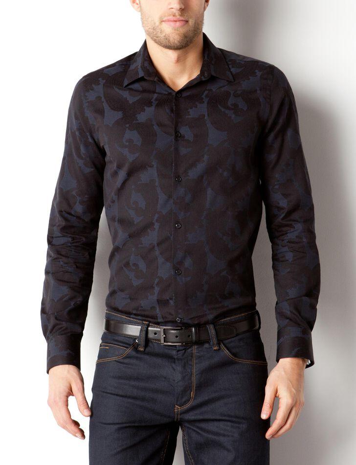 chemise motif fleur jacquard brice. Black Bedroom Furniture Sets. Home Design Ideas