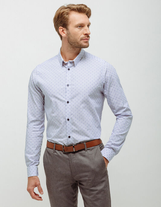 Chemise coton fine rayure , slim fit