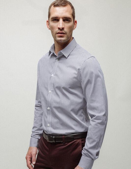 Chemise homme bleu marine slim rayée