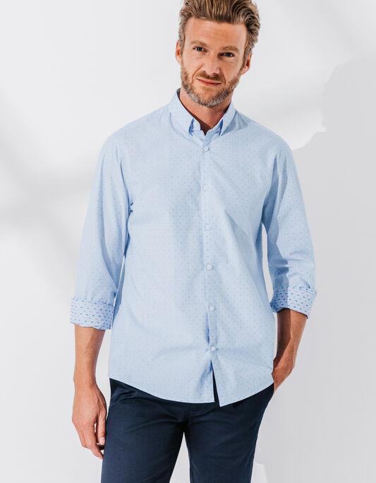 Chemise homme bleue à motifs