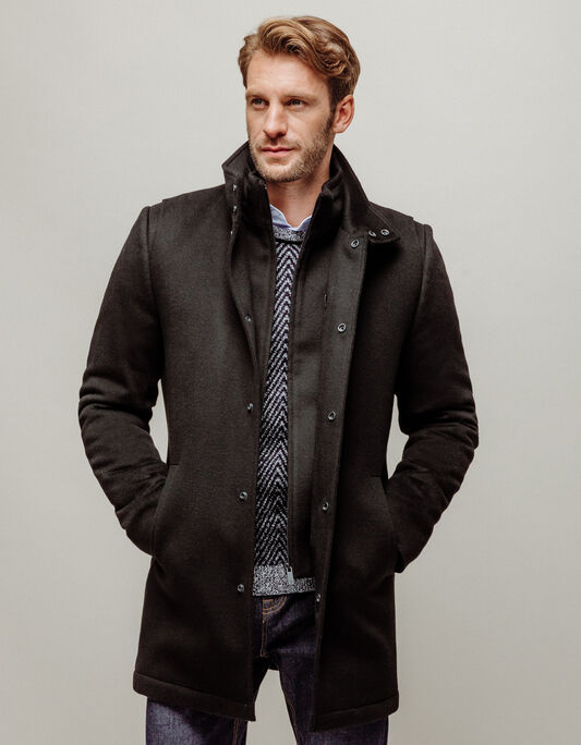 Manteau homme long 100% laine
