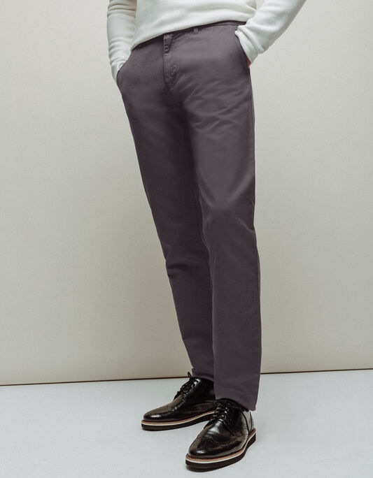 Pantalon chino homme regular gris