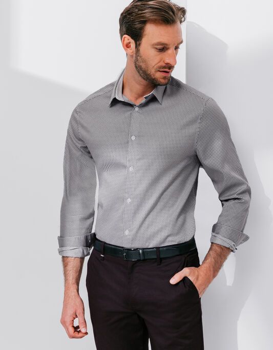 Chemise homme manche longue coupe regular col fran