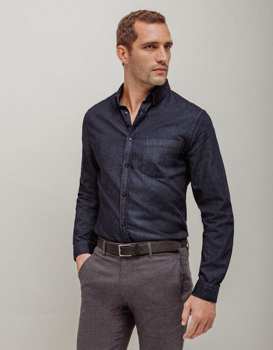 Chemise homme col à pointes boutonnées