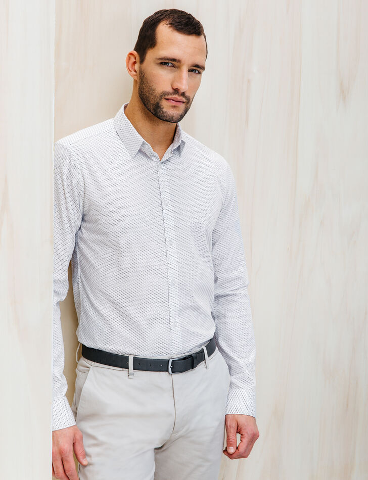 chemise homme blanche slim petits motifs brice
