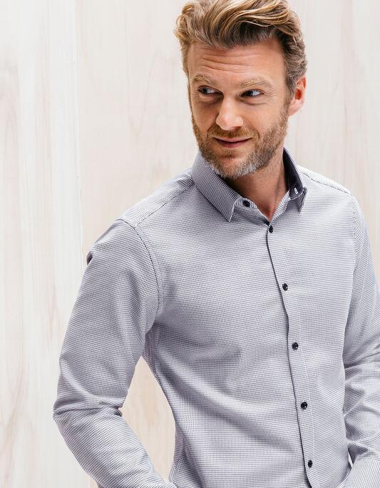 Chemise armurée bicolore coton slim fit