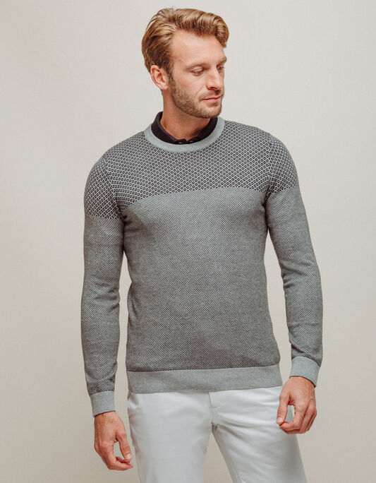 Pull homme col rond fantaisie gris