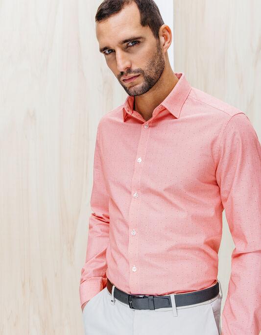 Chemise coton fantaisie rouge coupe droite
