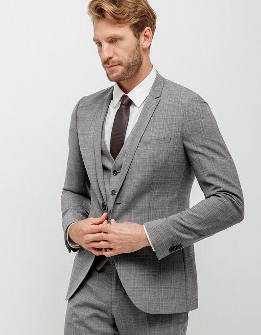 Veste costume homme ajustée à carreaux