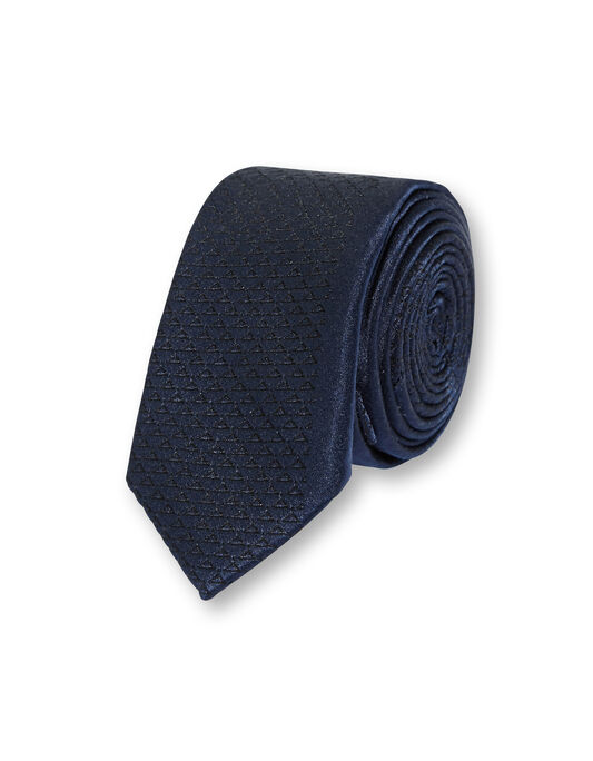 Cravate slim soie motif et bande fine unie