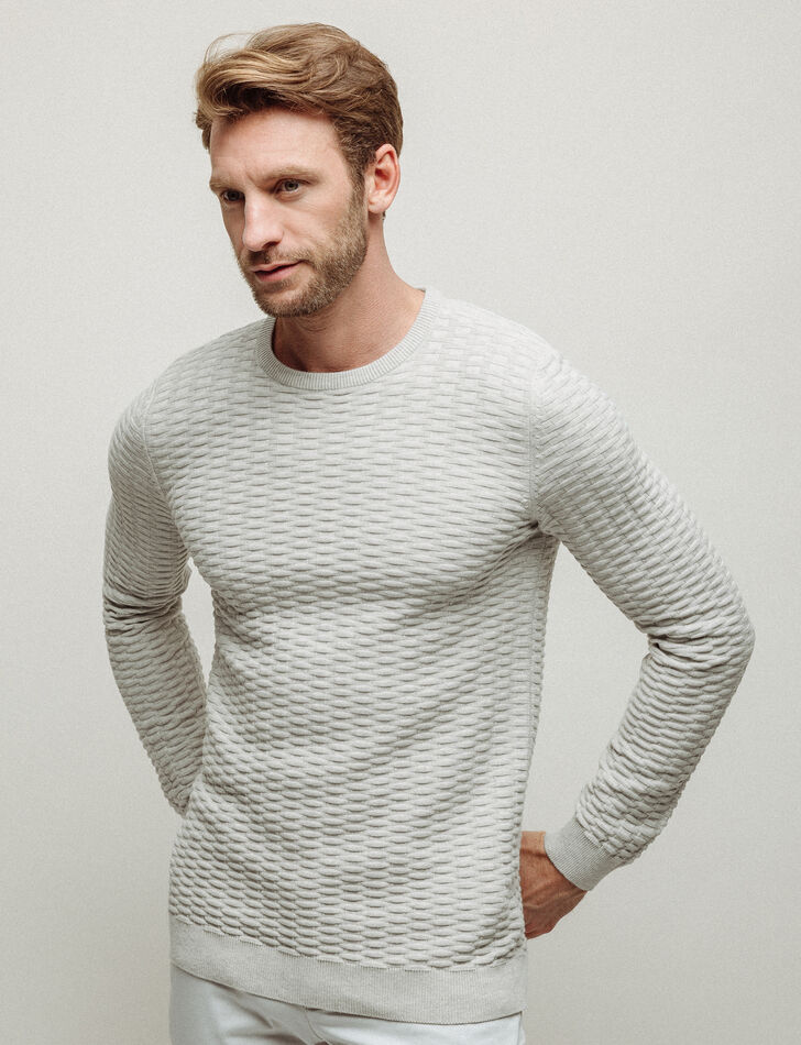 Pull homme col rond jeux de points quadrillage
