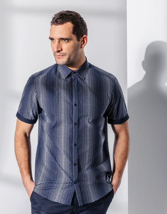 Chemise manche courte coton imprimé , coupe droite