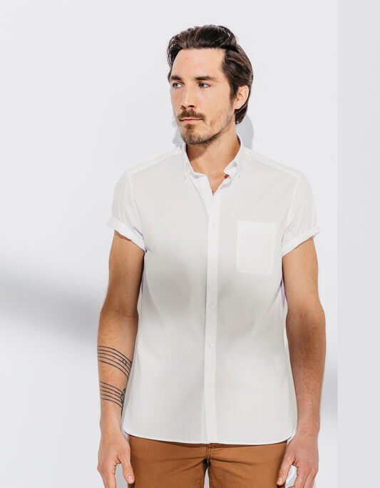 Chemise coton manches courtes coupe droite
