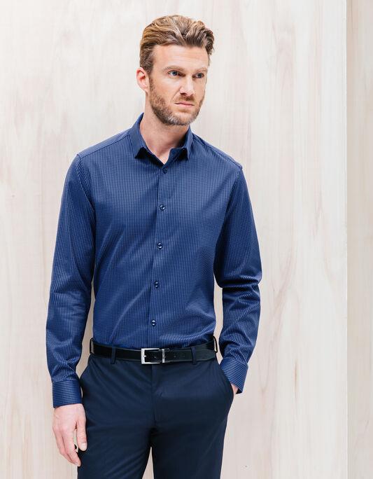 Chemise coton jacquard bleu coupe droite